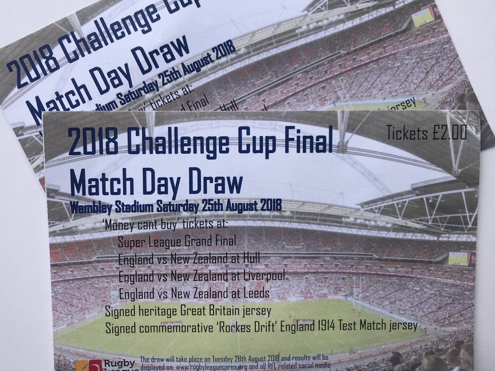 Challenge Cup final prize draw results